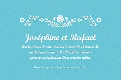 Carton d'invitation mariage Papel picado turquoise finition
