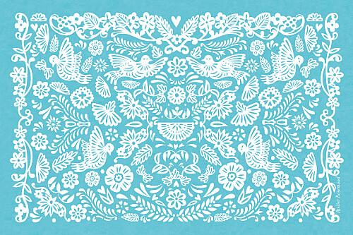 Carton d'invitation mariage Papel picado turquoise - Page 2