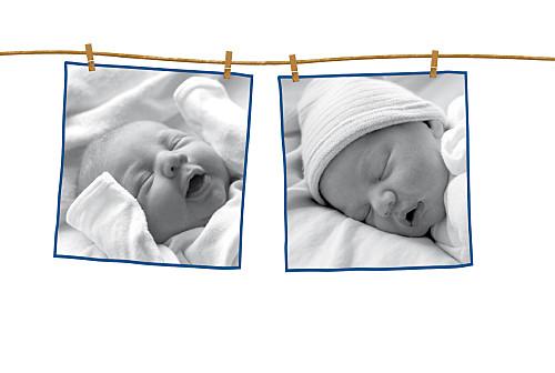 Faire-part de naissance Fil à linge garcon 2 photos bleu