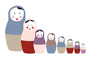 Faire-part de naissance rouge 8 poupées 3 photos bleu rouge