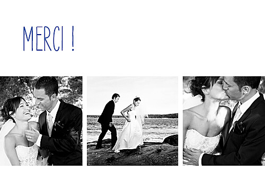 carte de remerciement mariage contemporain 3 photos blanc - Remerciement Mariage