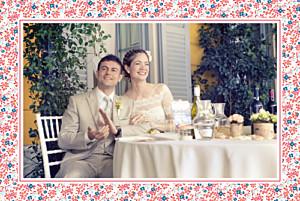 Carte de remerciement mariage Simplement liberty rouge