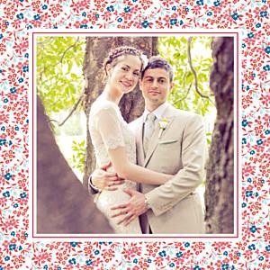Carte de remerciement mariage Petit liberty rouge