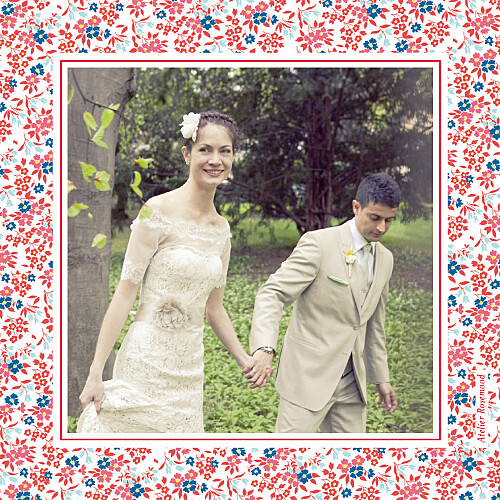 Carte de remerciement mariage Petit liberty rouge - Page 4