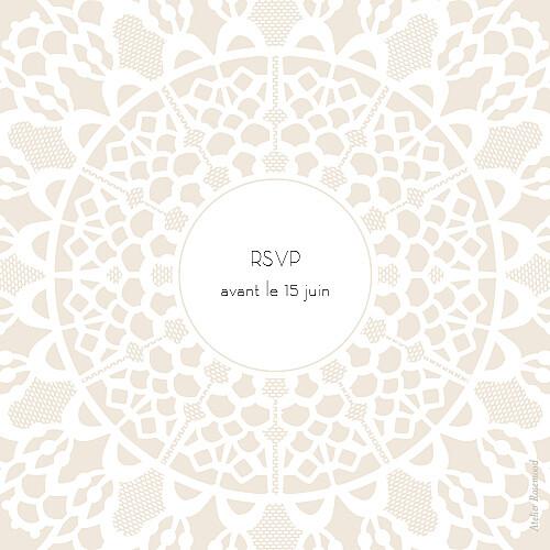 Carton réponse mariage Boudoir dentelle beige blanc