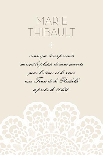 Carton d'invitation mariage Boudoir dentelle beige blanc 2