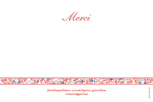 Carte de remerciement mariage Ruban liberty rouge