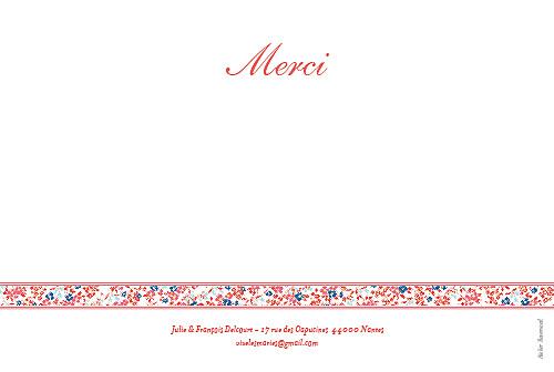 Carte de remerciement mariage Ruban liberty rouge - Page 2