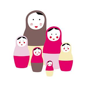 Faire part de naissance 6 petites poup es photo atelier rosemood - Faire part poupee russe ...