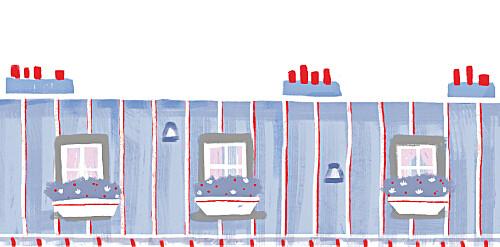 Marque-place mariage Toits de paris bleu-rouge-gris