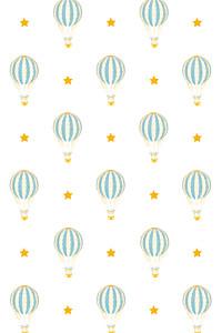 Carte de remerciement Petite montgolfière bleu jaune