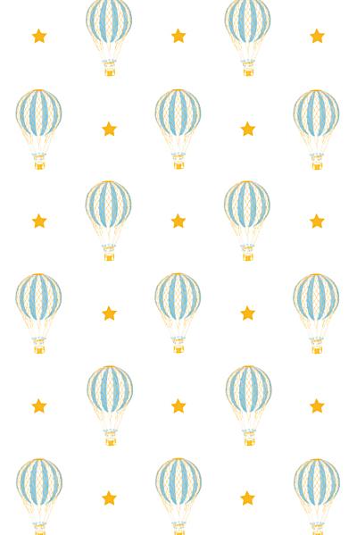 Carte de remerciement Petite montgolfière bleu jaune finition