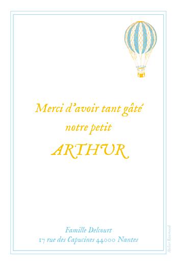 Carte de remerciement Petite montgolfière photo bleu jaune