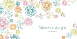 Faire-part de mariage original champetre multicolore
