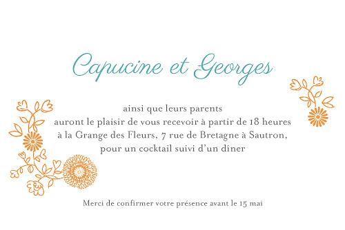 Carton d'invitation mariage Champetre multicolore