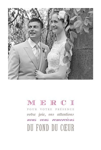 carte de remerciement mariage le plus beau jour blanc finition - Montage Photo Remerciement Mariage