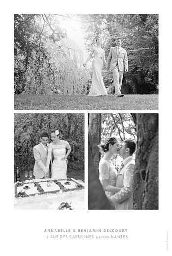 Carte de remerciement mariage Le plus beau jour blanc