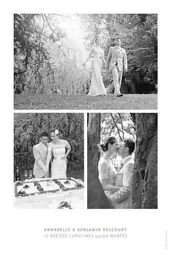 Carte de remerciement mariage Le plus beau jour blanc - Page 2