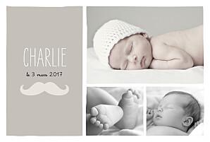 Faire-part de naissance violet moustache paysage 3 photos taupe