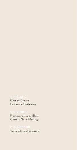 Menu de mariage Boudoir dentelle (4 pages) beige blanc