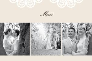 Carte de remerciement mariage Boudoir dentelle beige blanc
