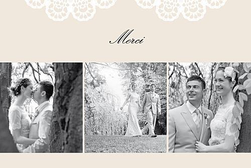 carte de remerciement mariage boudoir dentelle beige blanc - Remerciement Mariage Photo