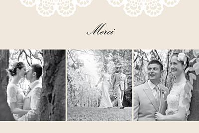 Carte de remerciement mariage Boudoir dentelle beige blanc finition