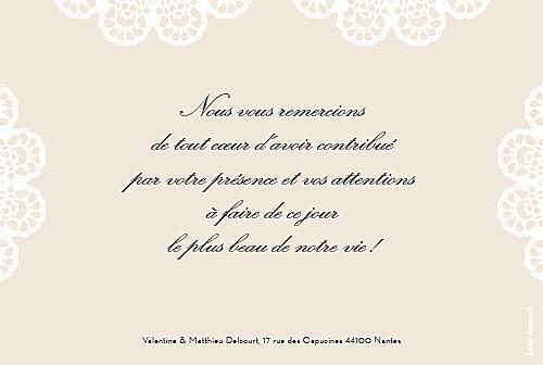 Carte de remerciement mariage Boudoir dentelle beige blanc - Page 2
