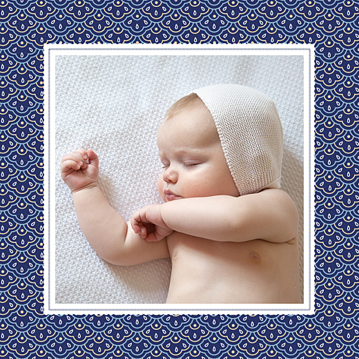 Faire-part de naissance Pattern fantaisie photo bleu