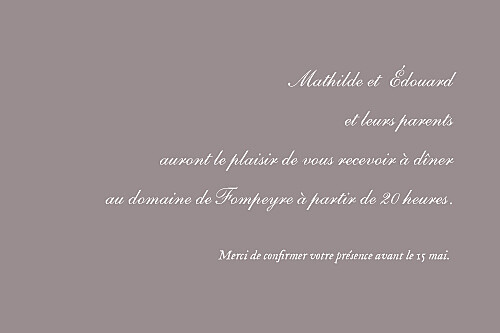 Carton d'invitation mariage Toile de jouy taupe - Page 2
