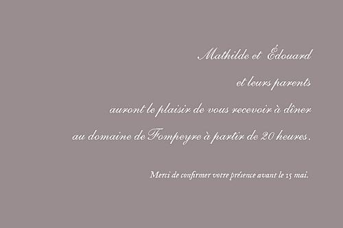 Carton d'invitation mariage Toile de jouy taupe