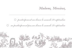 Carton réponse mariage Toile de jouy taupe