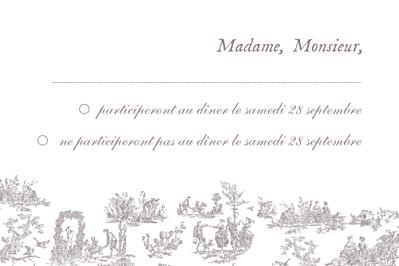 Carton réponse mariage Toile de jouy taupe finition