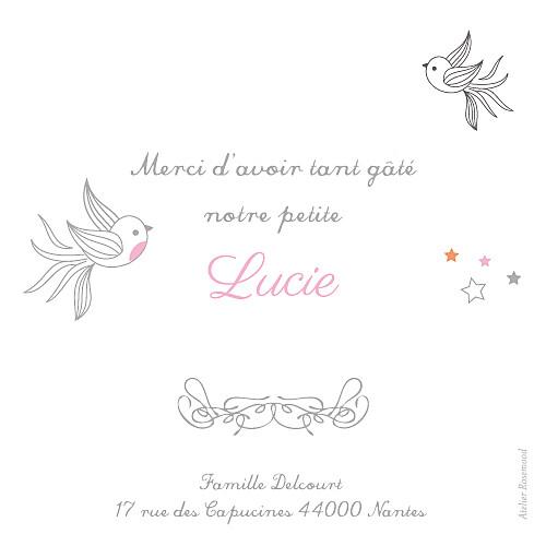 Carte de remerciement Petites étoiles rose
