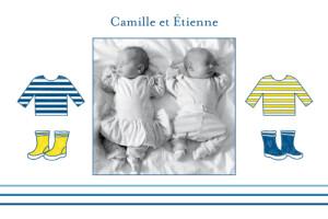 Carte de remerciement Petit marin jumeaux photo bleu jaune