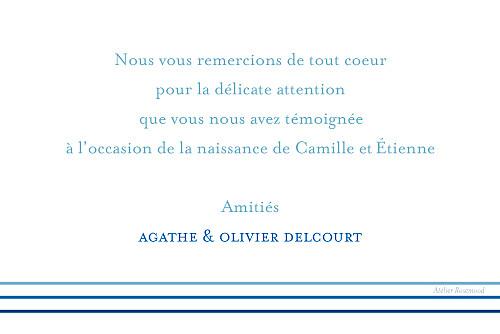 Carte de remerciement Petit marin jumeaux photo bleu jaune - Page 2