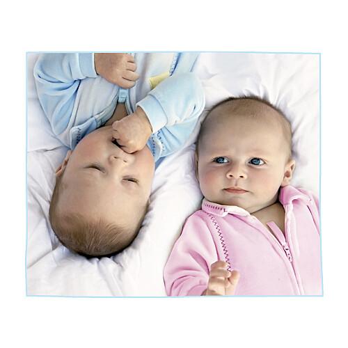 Faire-part de naissance 6 poupées jumeaux photo rose bleu