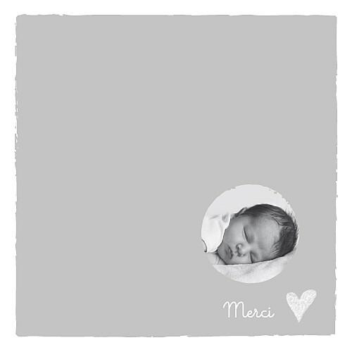 Carte de remerciement Petit coeur photo merci gris