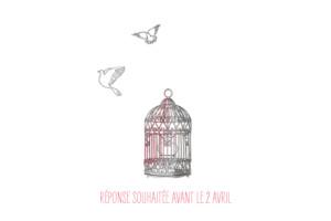 Carton d'invitation mariage Cage à oiseaux rouge