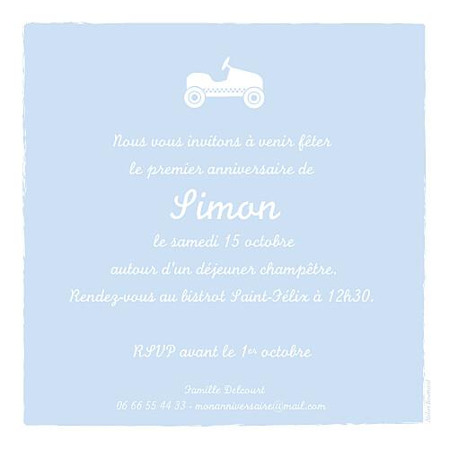 Carte d'anniversaire Petite voiture photo bleu ciel