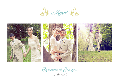 Carte de remerciement mariage Champêtre multicolore finition