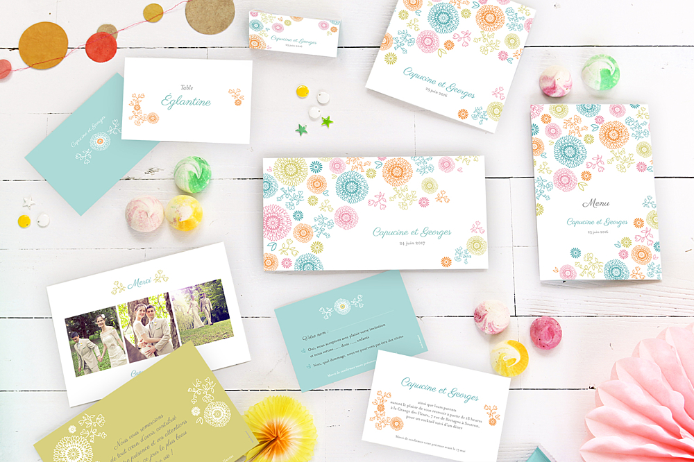 Fabuleux Carte de remerciement mariage Champêtre - Atelier Rosemood HB49
