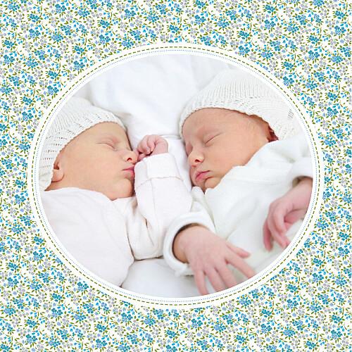 Faire-part de naissance Liberty jumeaux écusson photo bleu