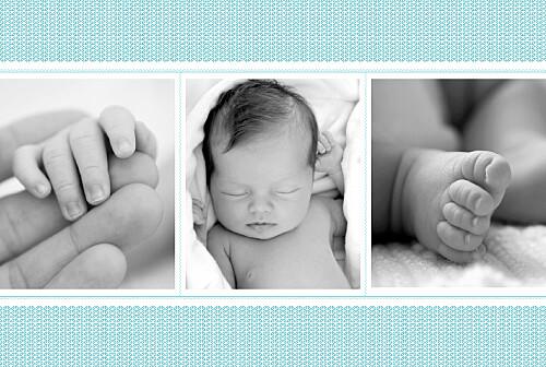 Faire-part de naissance Accolades 3 photos bleu