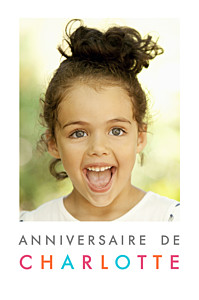 Carte d'anniversaire Justifié photo portrait blanc