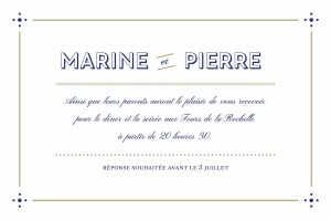 Carton d'invitation mariage Rétro bleu bronze