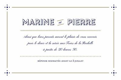 Carton d'invitation mariage Rétro bleu bronze finition