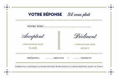 Carton réponse mariage Rétro bleu bronze finition
