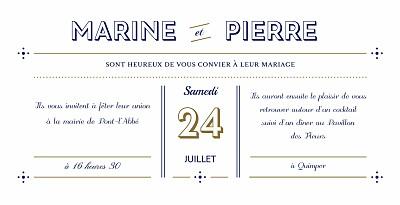 Faire-part de mariage Rétro bleu bronze finition