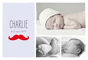 Faire-part de naissance rouge moustache paysage 3 photos rouge